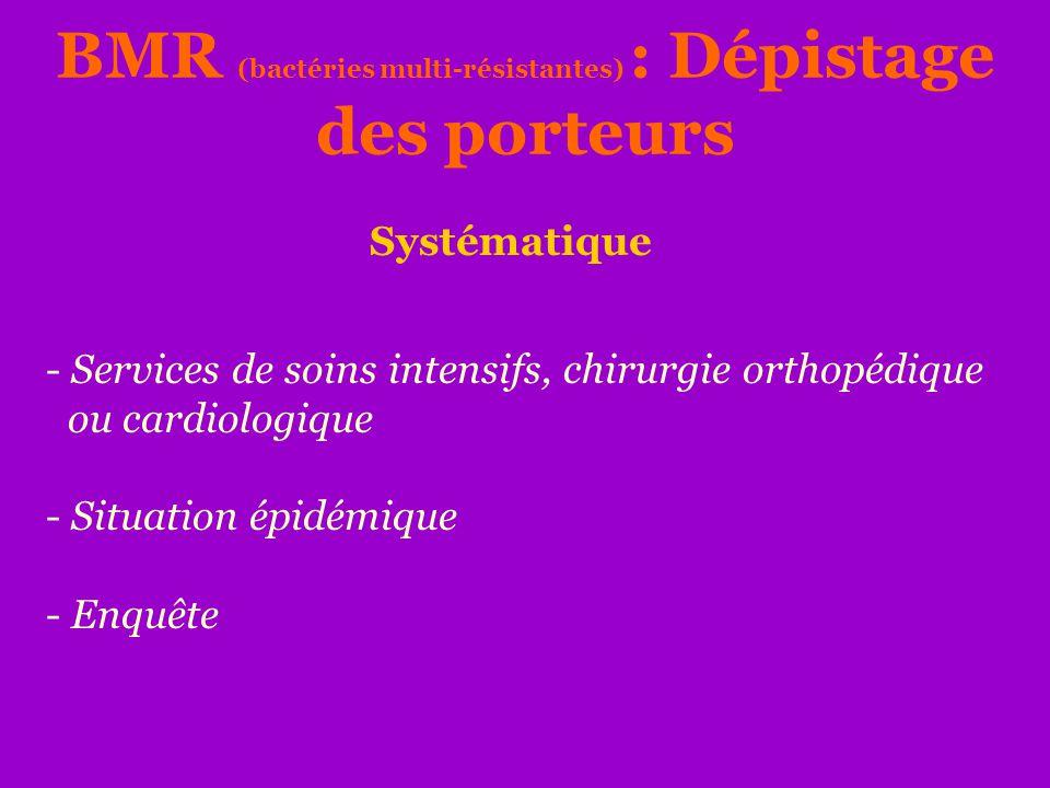 BMR (bactéries multi-résistantes) : Dépistage des porteurs