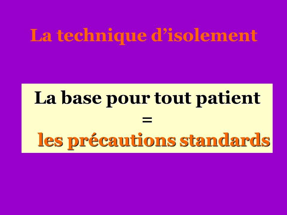 La base pour tout patient = les précautions standards
