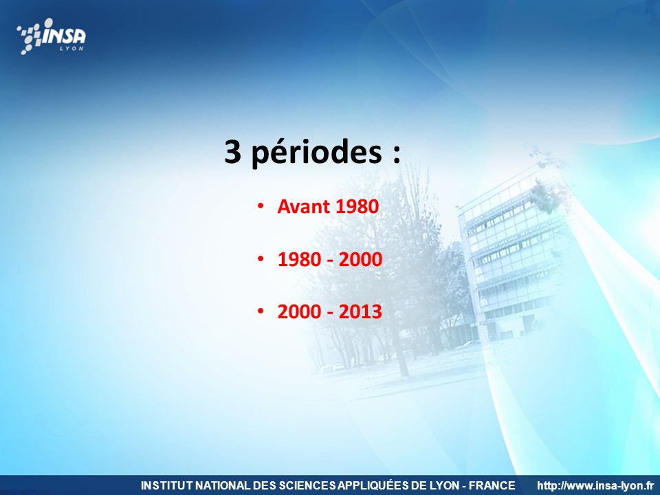 3 périodes : Avant 1980. 1980 - 2000. 2000 - 2013.