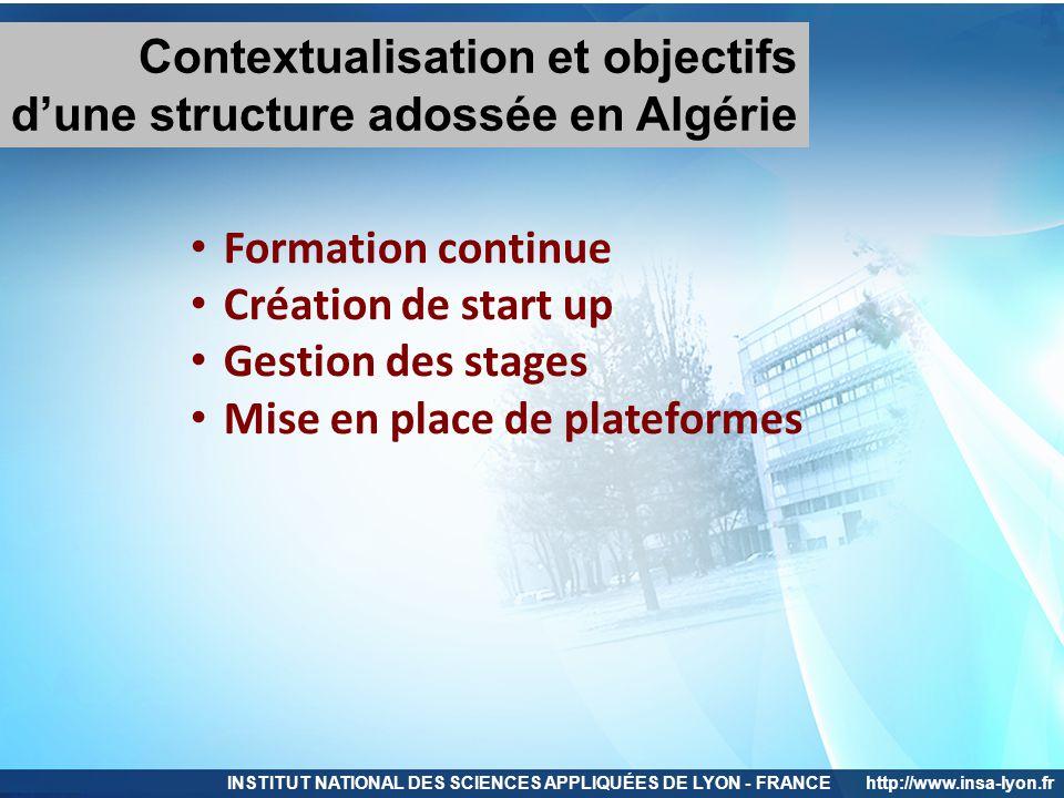 Contextualisation et objectifs d'une structure adossée en Algérie