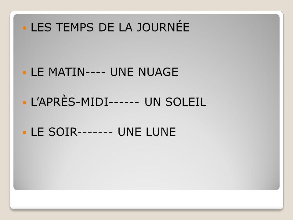 LES TEMPS DE LA JOURNÉE LE MATIN---- UNE NUAGE L'APRÈS-MIDI------ UN SOLEIL LE SOIR------- UNE LUNE