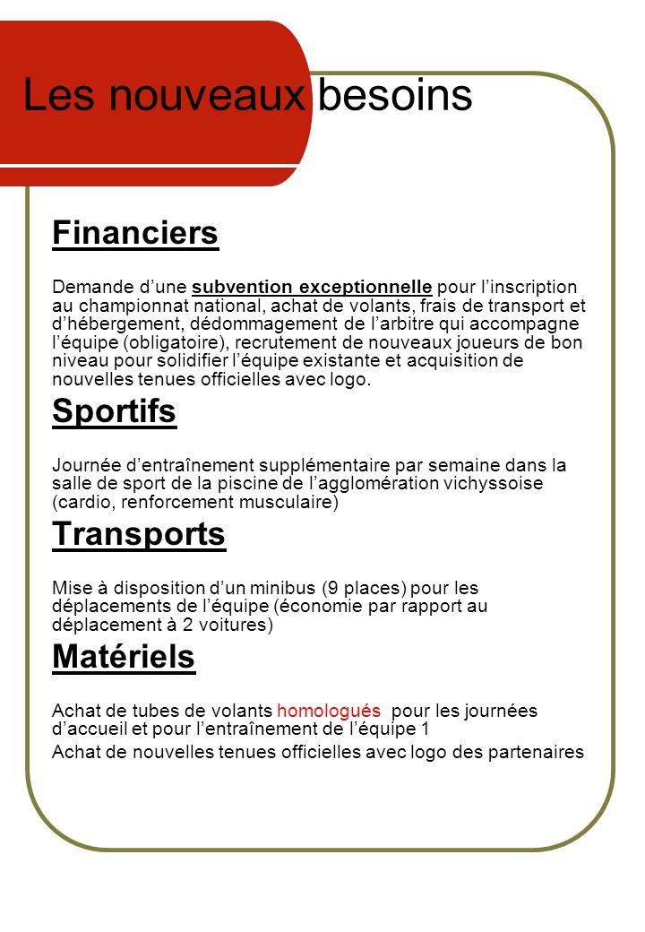 Les nouveaux besoins Financiers Sportifs Transports Matériels