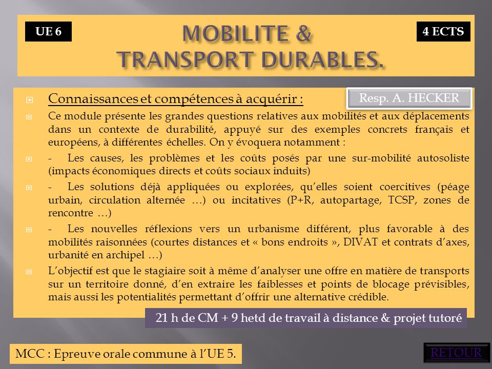 MOBILITE & TRANSPORT DURABLES.
