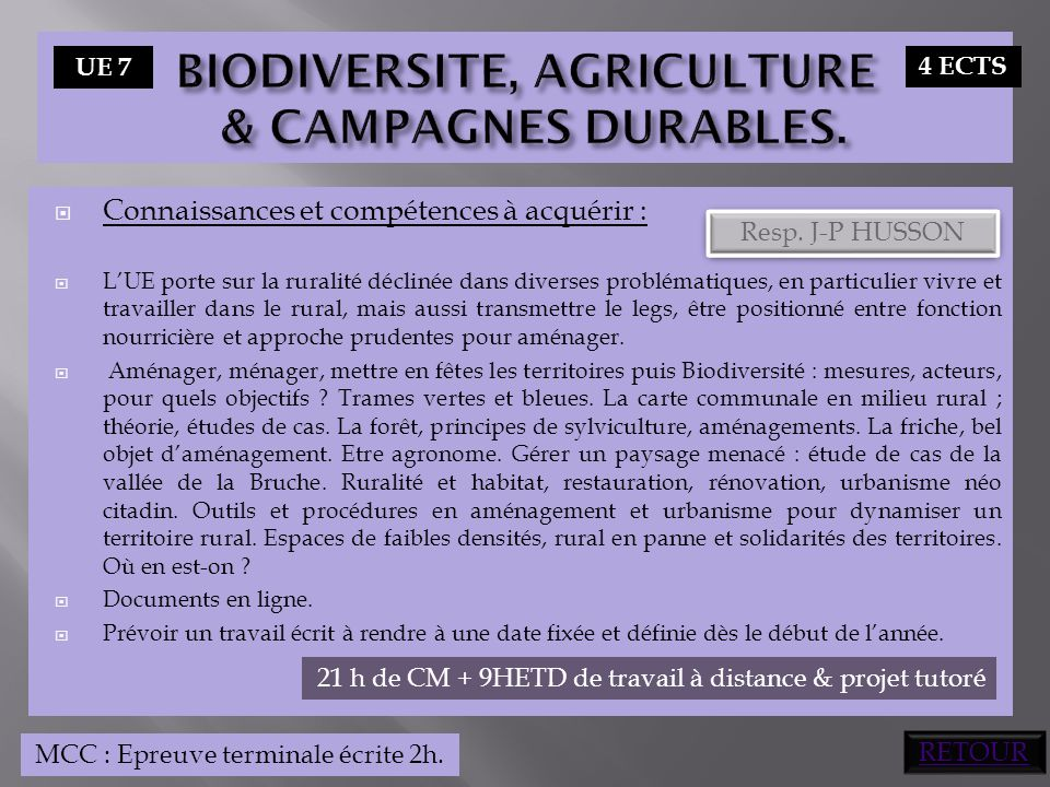 BIODIVERSITE, AGRICULTURE & CAMPAGNES DURABLES.
