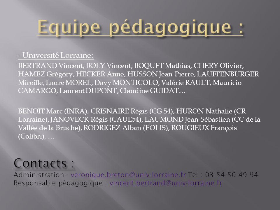 Equipe pédagogique : Contacts : - Université Lorraine :