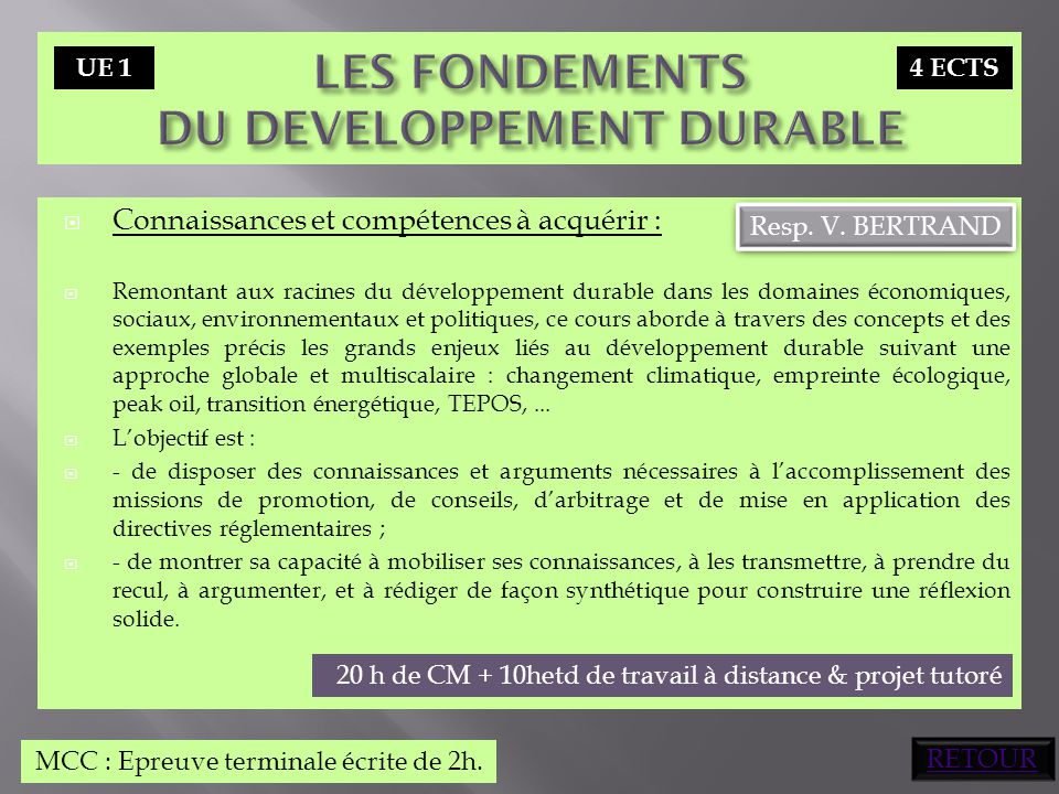LES FONDEMENTS DU DEVELOPPEMENT DURABLE