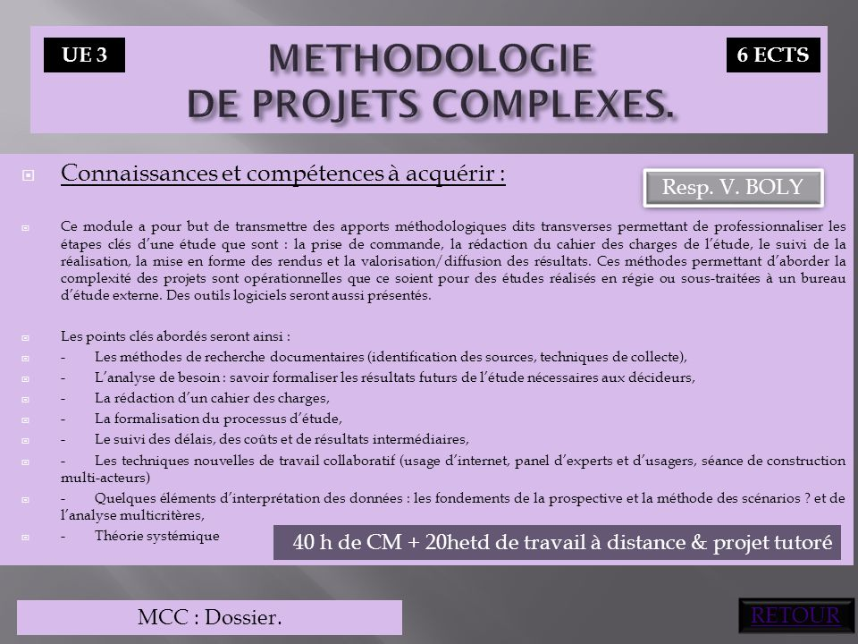METHODOLOGIE DE PROJETS COMPLEXES.
