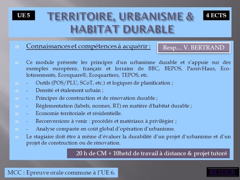 TERRITOIRE, URBANISME & HABITAT DURABLE