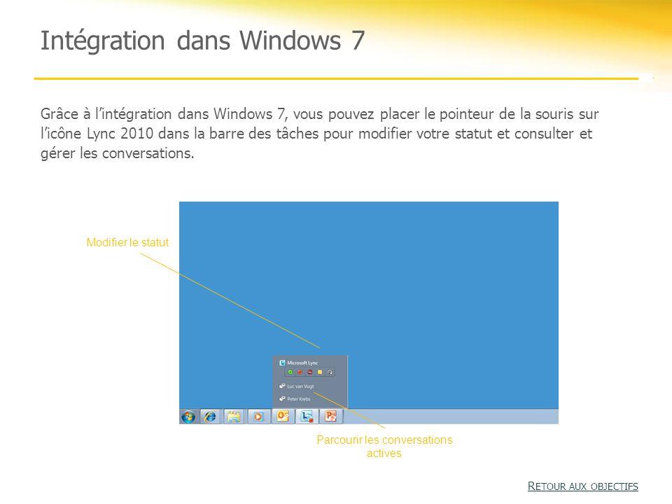 Intégration dans Windows 7