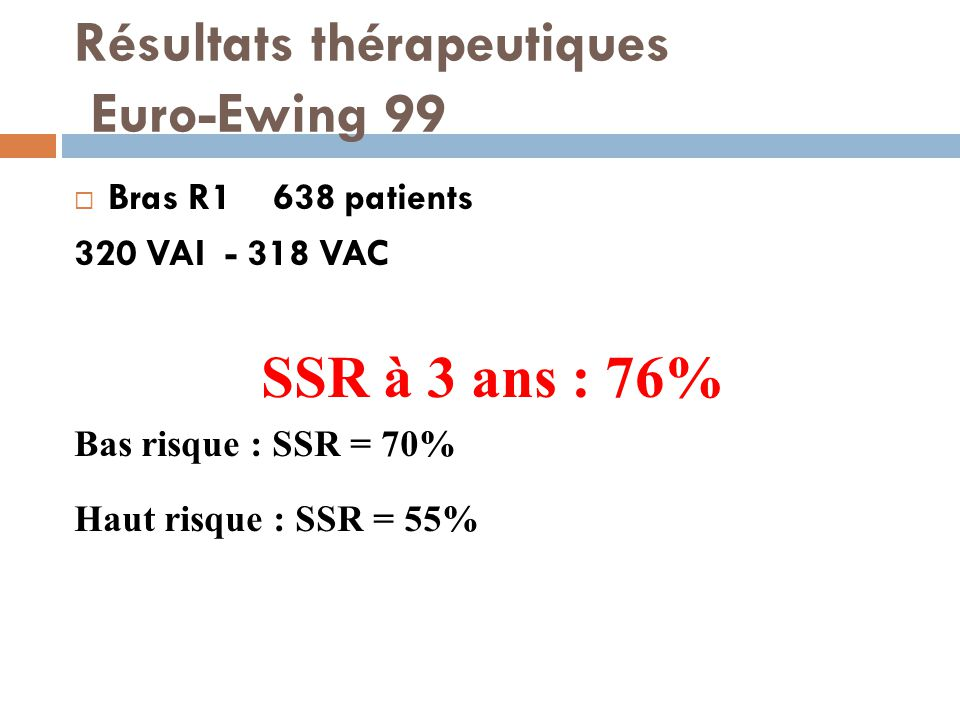 Résultats thérapeutiques Euro-Ewing 99