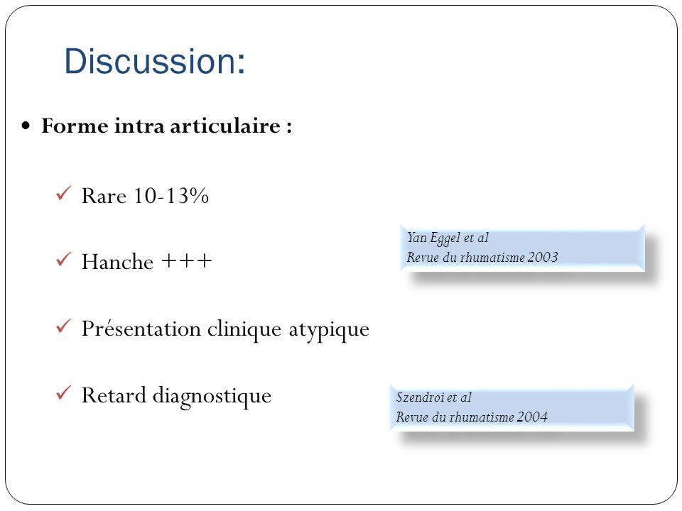Discussion: Rare 10-13% Hanche +++ Présentation clinique atypique