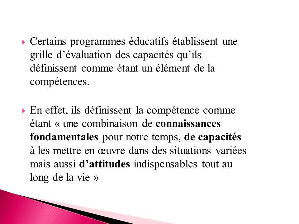 Certains programmes éducatifs établissent une grille d'évaluation des capacités qu'ils définissent comme étant un élément de la compétences.