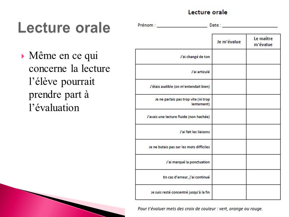 Lecture orale Même en ce qui concerne la lecture l'élève pourrait prendre part à l'évaluation