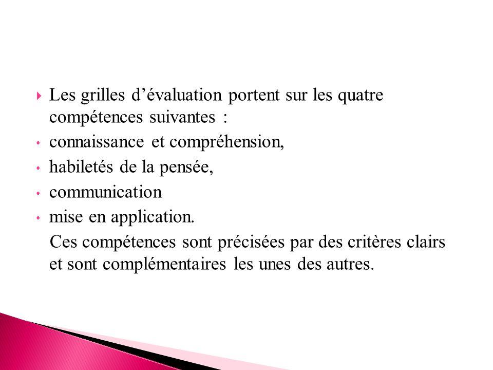 Les grilles d'évaluation portent sur les quatre compétences suivantes :