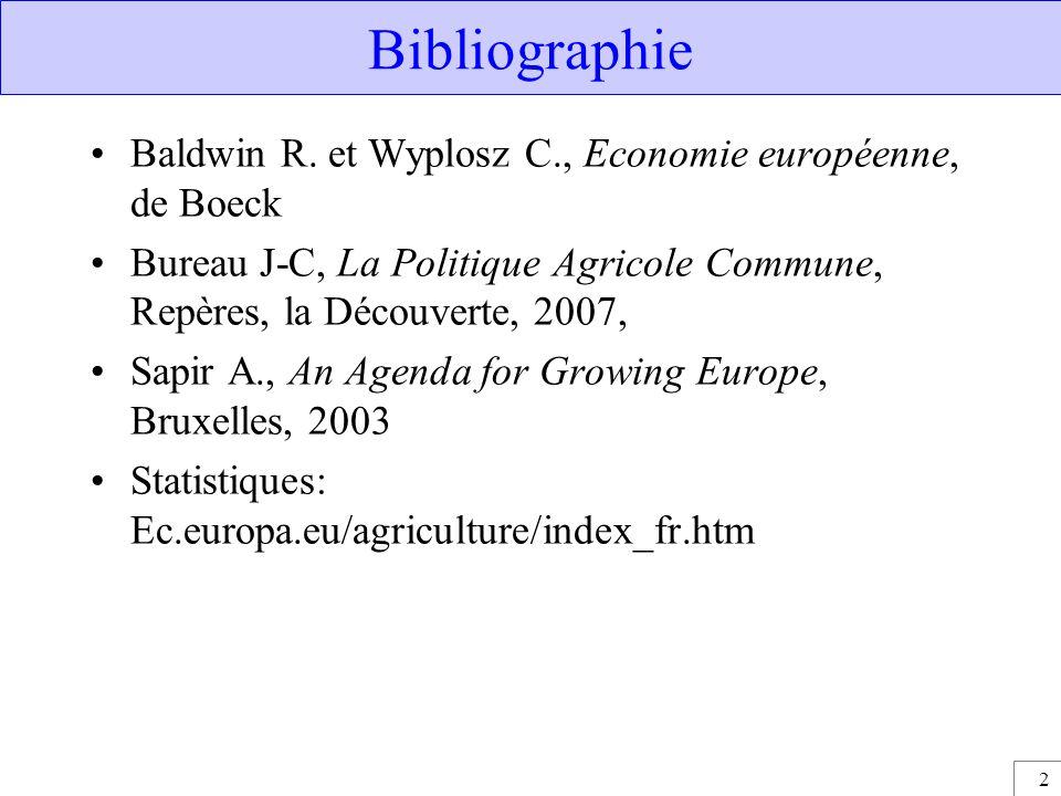 Bibliographie Baldwin R. et Wyplosz C., Economie européenne, de Boeck