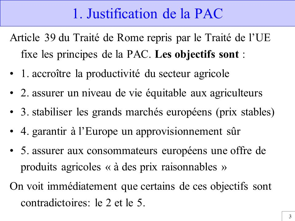 1. Justification de la PAC
