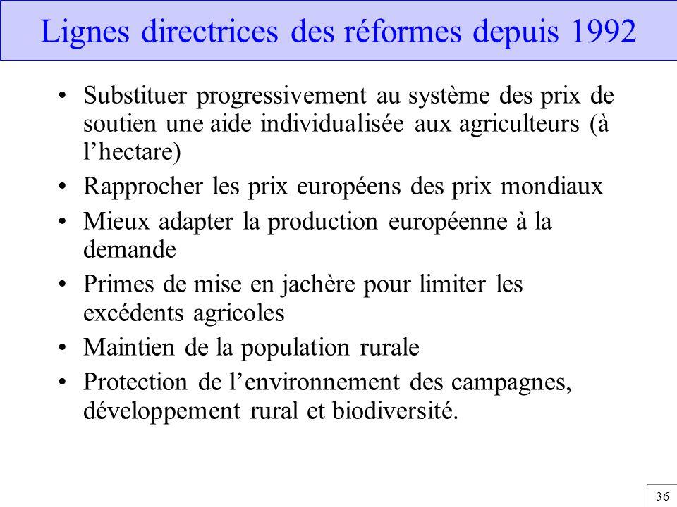 Lignes directrices des réformes depuis 1992