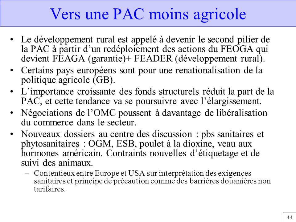 Vers une PAC moins agricole