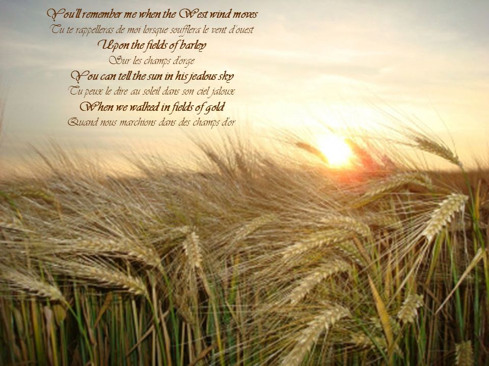 You ll remember me when the West wind moves Upon the fields of barley