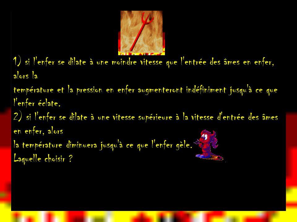 1) si l enfer se dilate à une moindre vitesse que l entrée des âmes en enfer, alors la