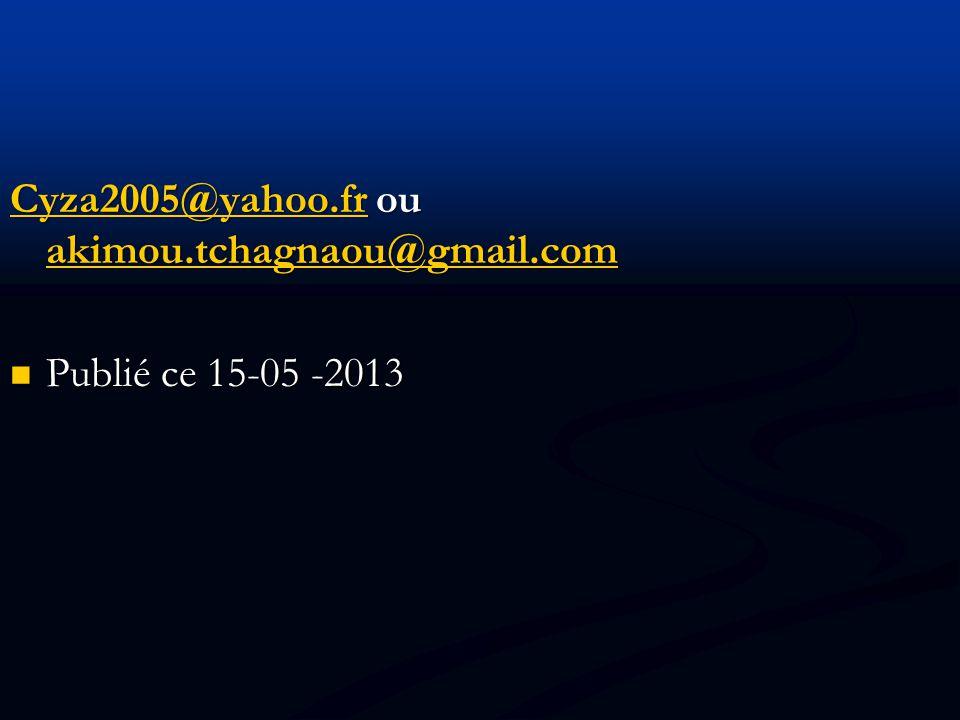 Cyza2005@yahoo.fr ou akimou.tchagnaou@gmail.com