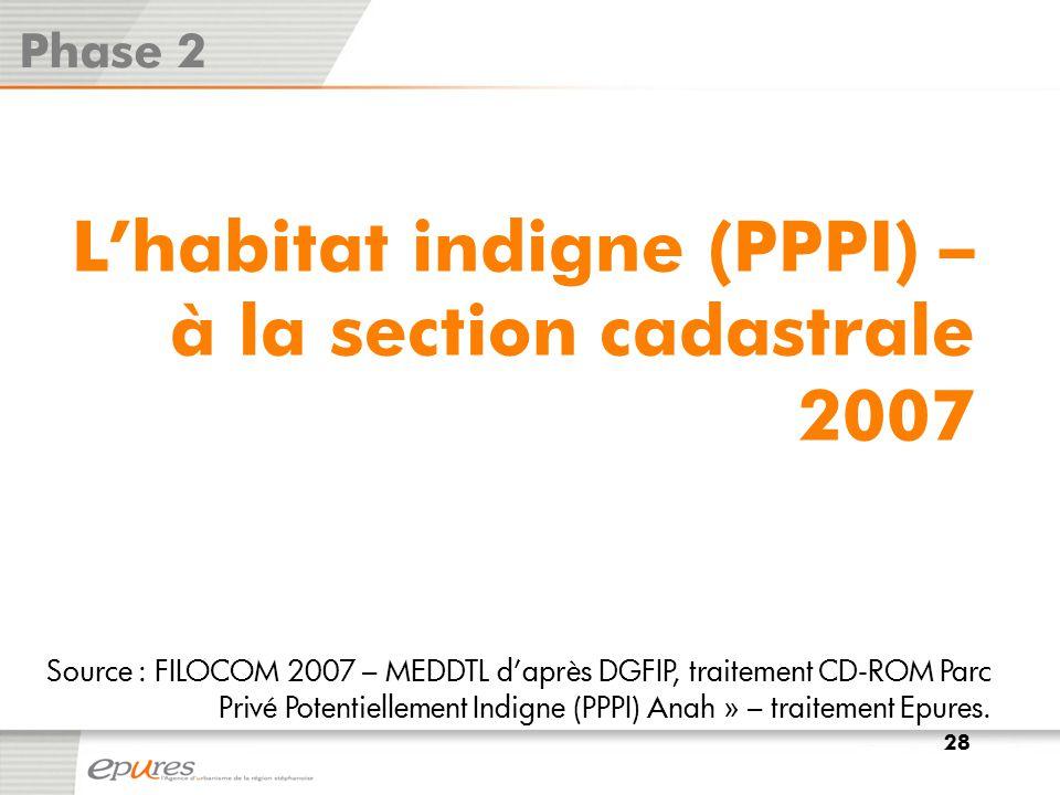L'habitat indigne (PPPI) – à la section cadastrale 2007