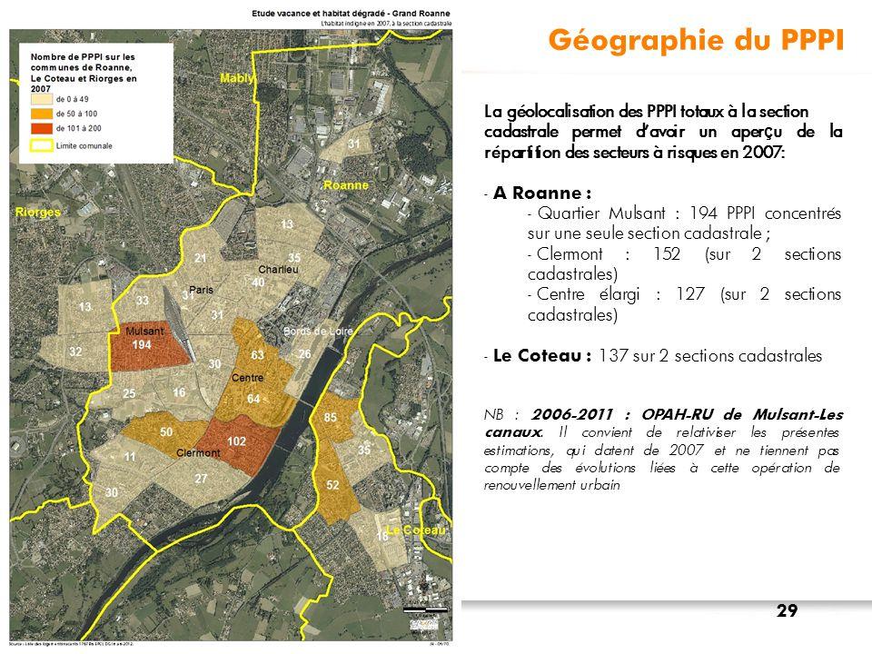Géographie du PPPI La géolocalisation des PPPI totaux à la section