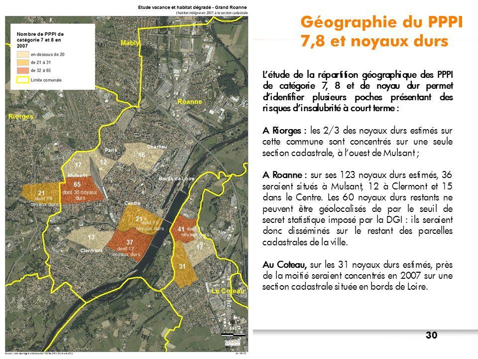 Géographie du PPPI 7,8 et noyaux durs