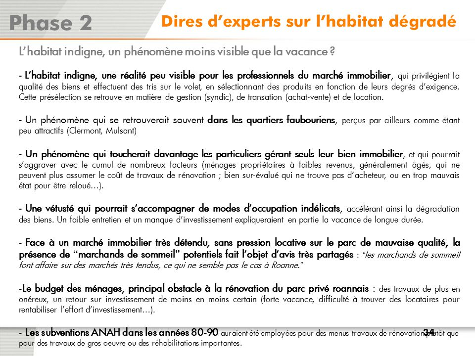 Phase 2 Dires d'experts sur l'habitat dégradé