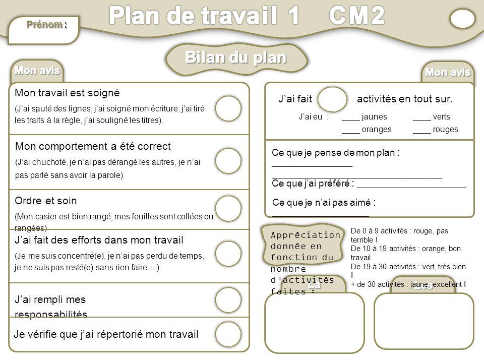 Plan de travail 1 CM2 Bilan du plan Mon avis : Mon avis :