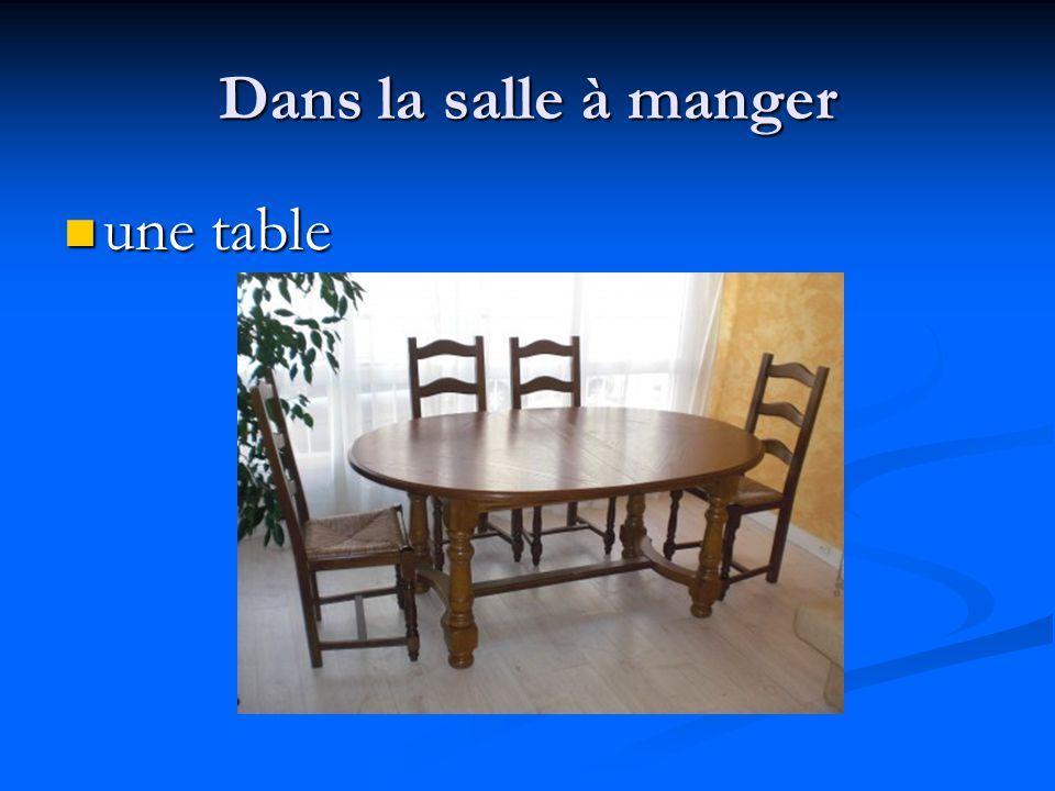 Dans la salle à manger une table