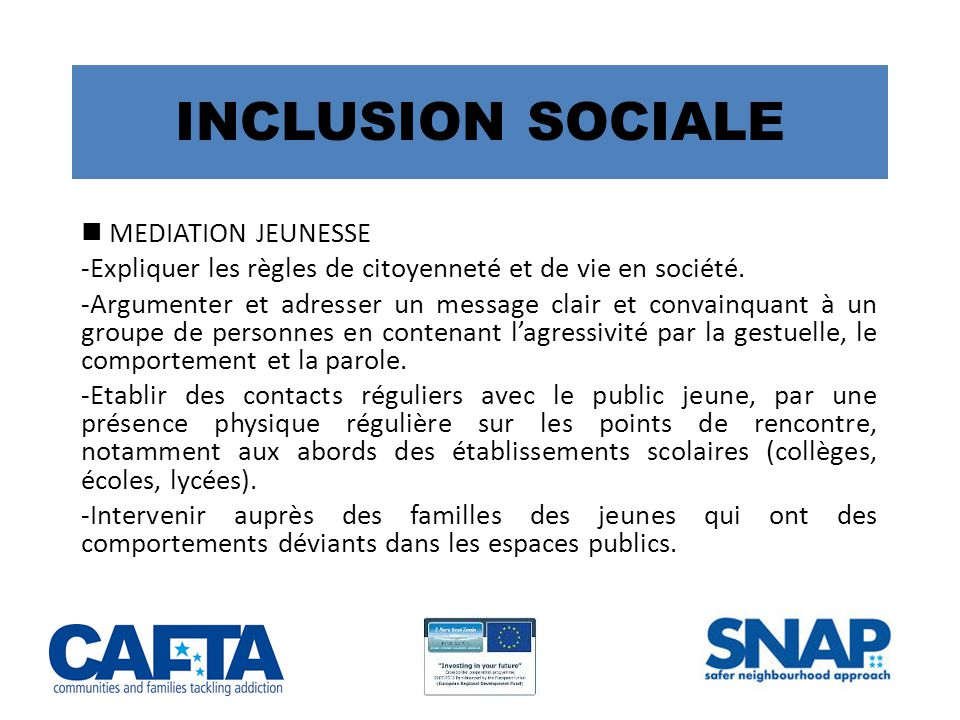 INCLUSION SOCIALE  MEDIATION JEUNESSE