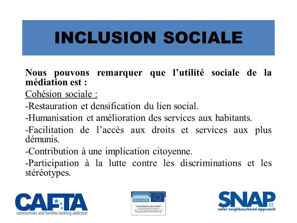 INCLUSION SOCIALE Nous pouvons remarquer que l'utilité sociale de la médiation est : Cohésion sociale :
