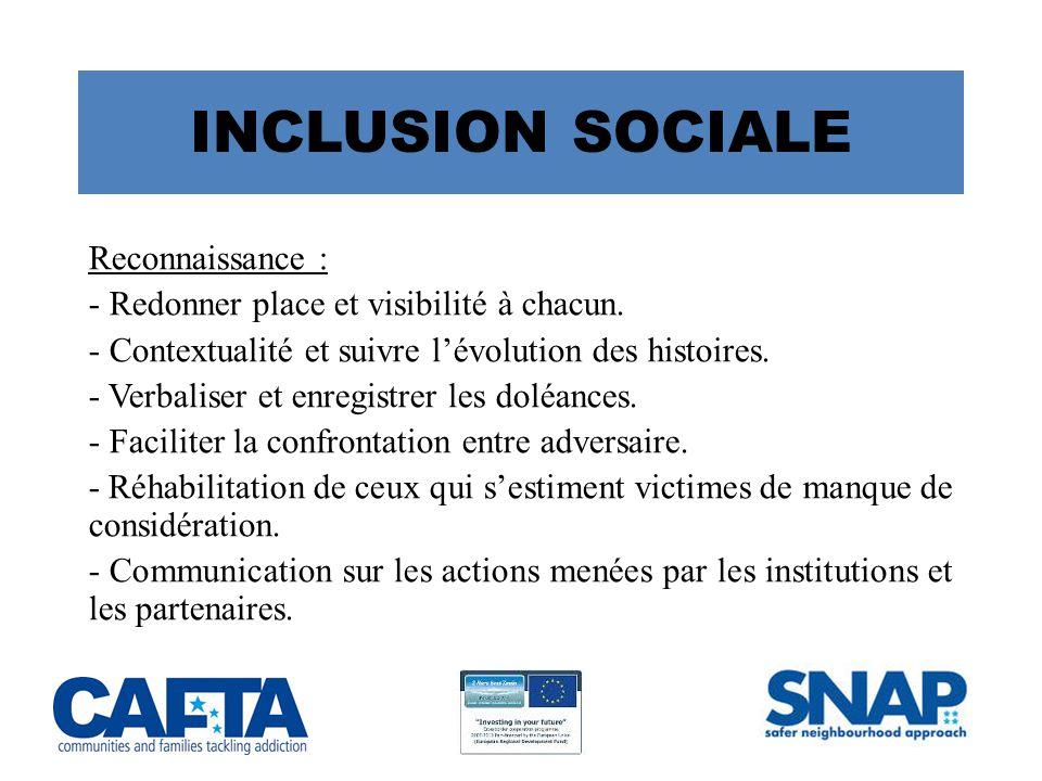 INCLUSION SOCIALE Reconnaissance :