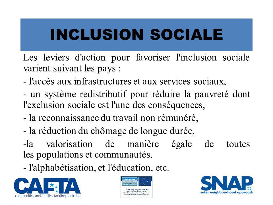 INCLUSION SOCIALE Les leviers d action pour favoriser l inclusion sociale varient suivant les pays :