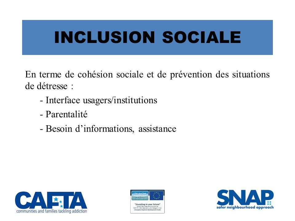 INCLUSION SOCIALE En terme de cohésion sociale et de prévention des situations de détresse : - Interface usagers/institutions.