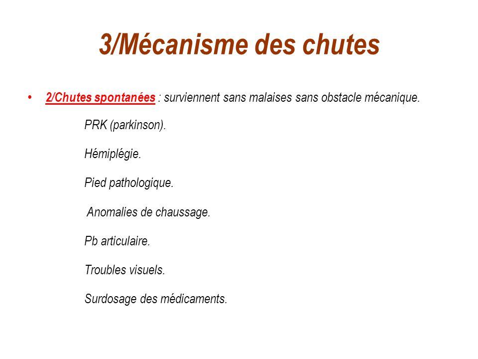 3/Mécanisme des chutes 2/Chutes spontanées : surviennent sans malaises sans obstacle mécanique. PRK (parkinson).