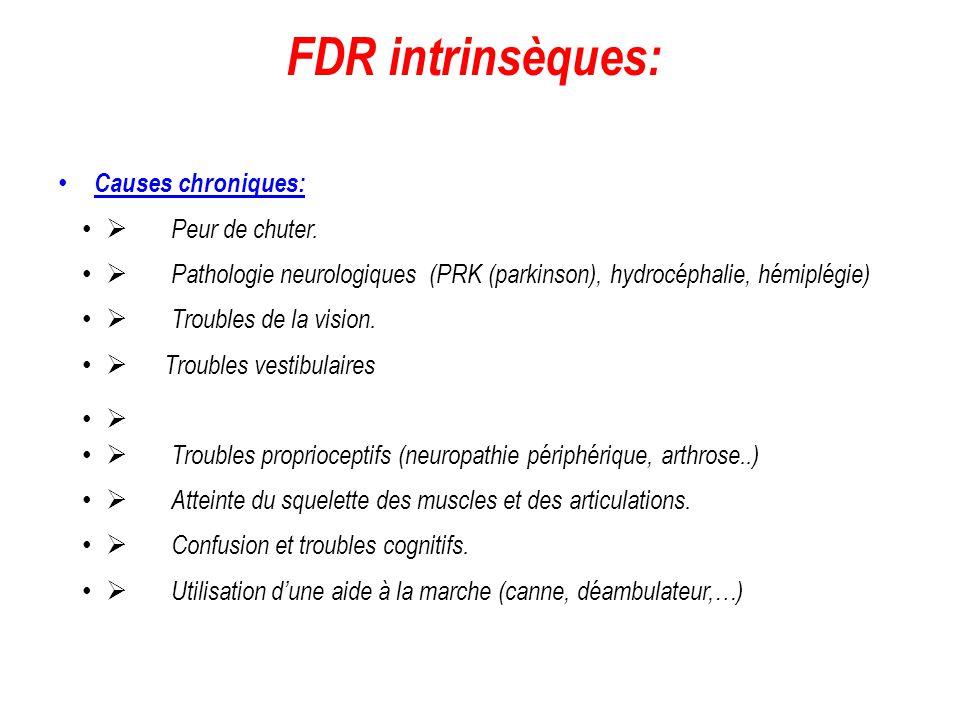 FDR intrinsèques: Causes chroniques: Ø Peur de chuter.