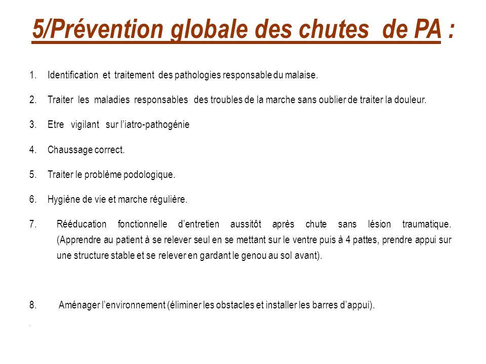 5/Prévention globale des chutes de PA :