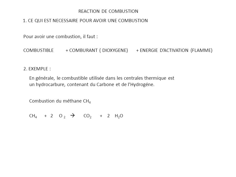 REACTION DE COMBUSTION