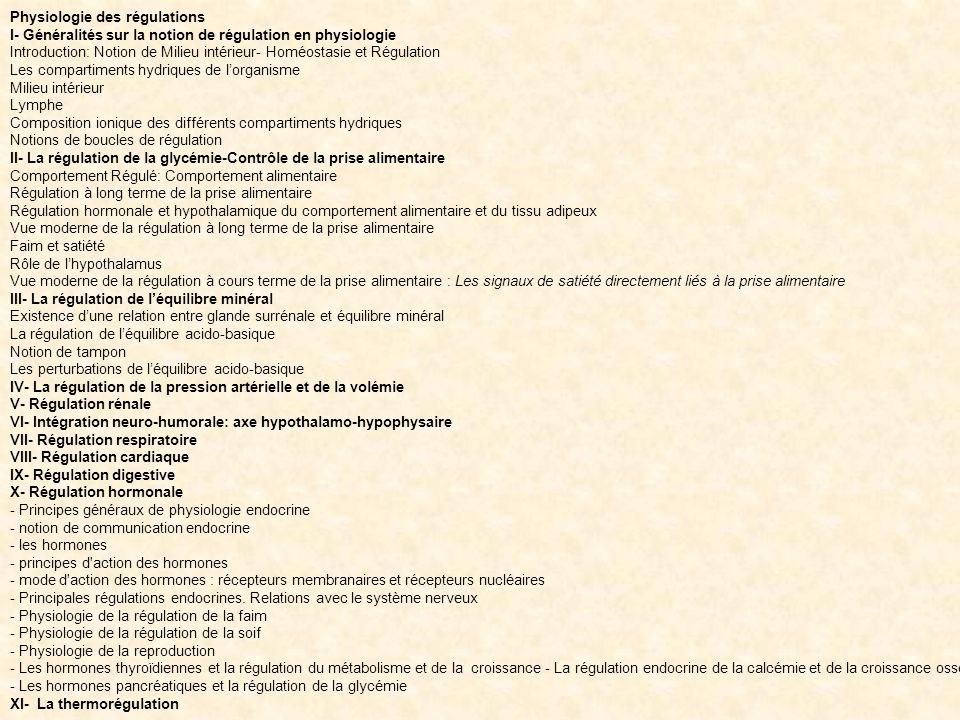 Physiologie des régulations