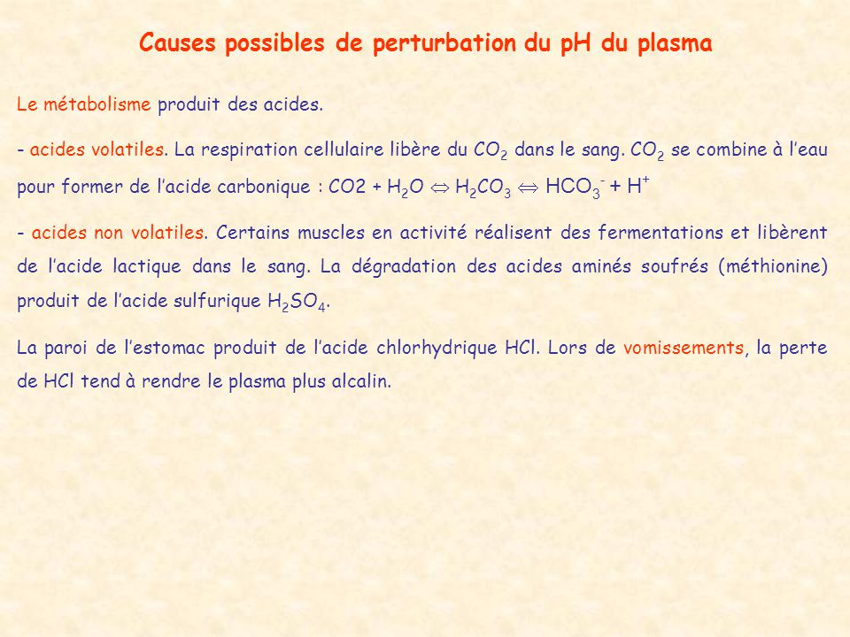 Causes possibles de perturbation du pH du plasma