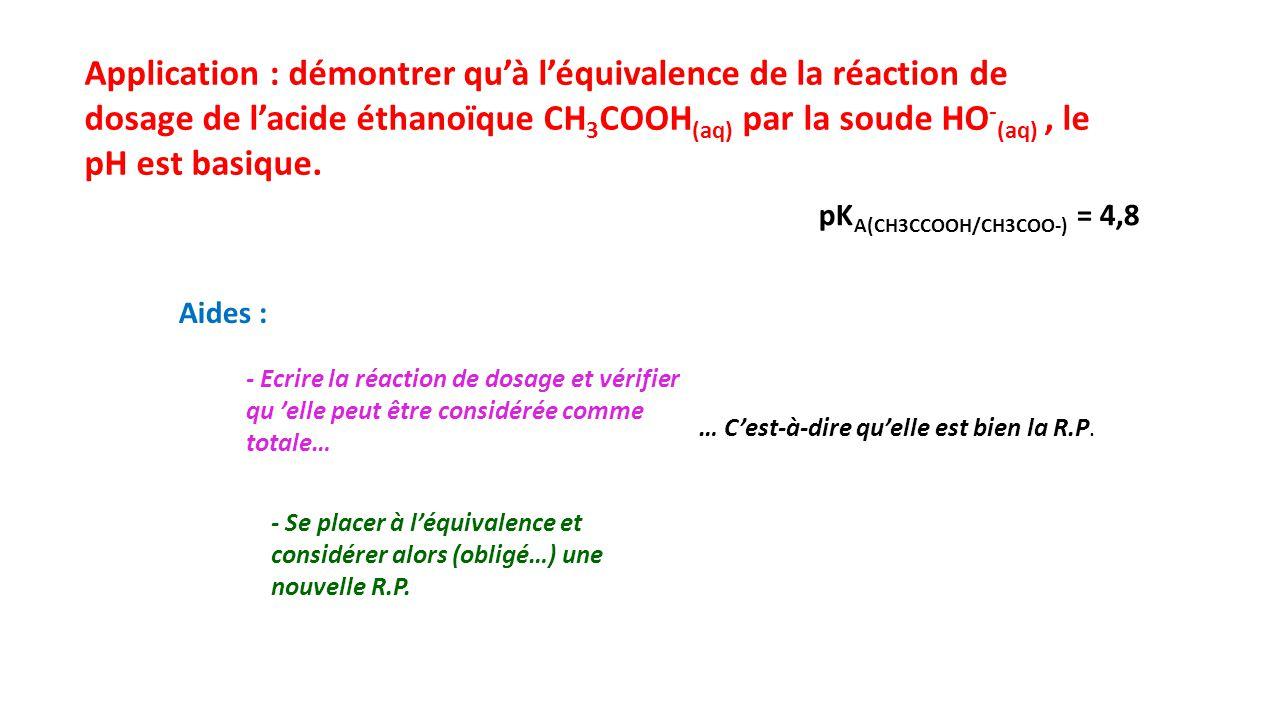 Application : démontrer qu'à l'équivalence de la réaction de dosage de l'acide éthanoïque CH3COOH(aq) par la soude HO-(aq) , le pH est basique.