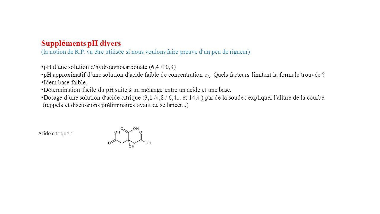 Suppléments pH divers (la notion de R.P. va être utilisée si nous voulons faire preuve d'un peu de rigueur)