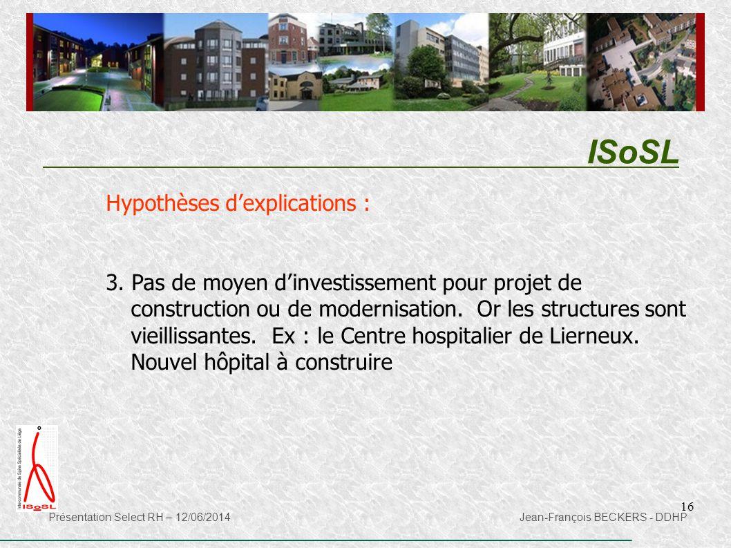 ISoSL Hypothèses d'explications :
