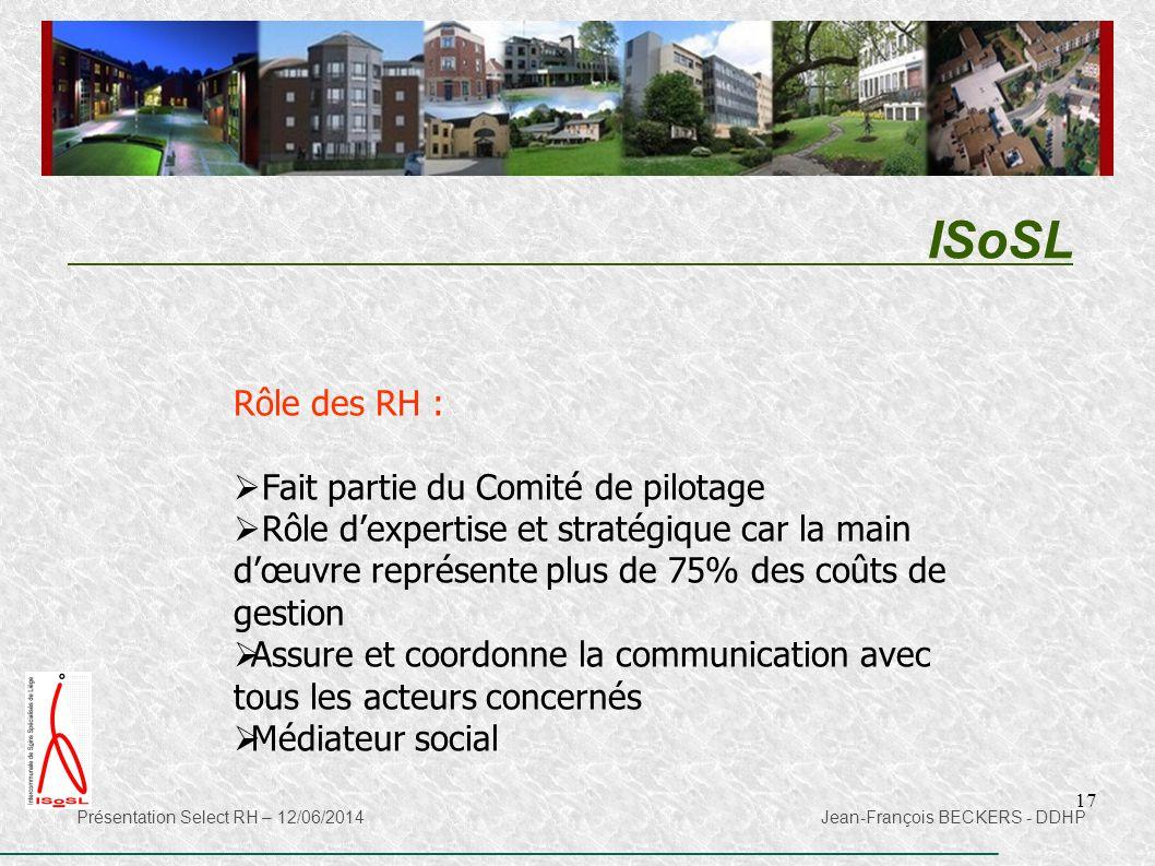 ISoSL Rôle des RH : Fait partie du Comité de pilotage