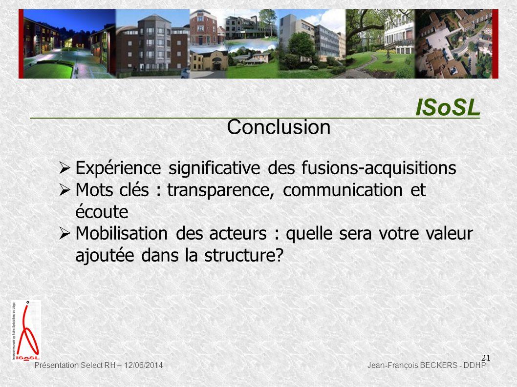 ISoSL Conclusion Expérience significative des fusions-acquisitions