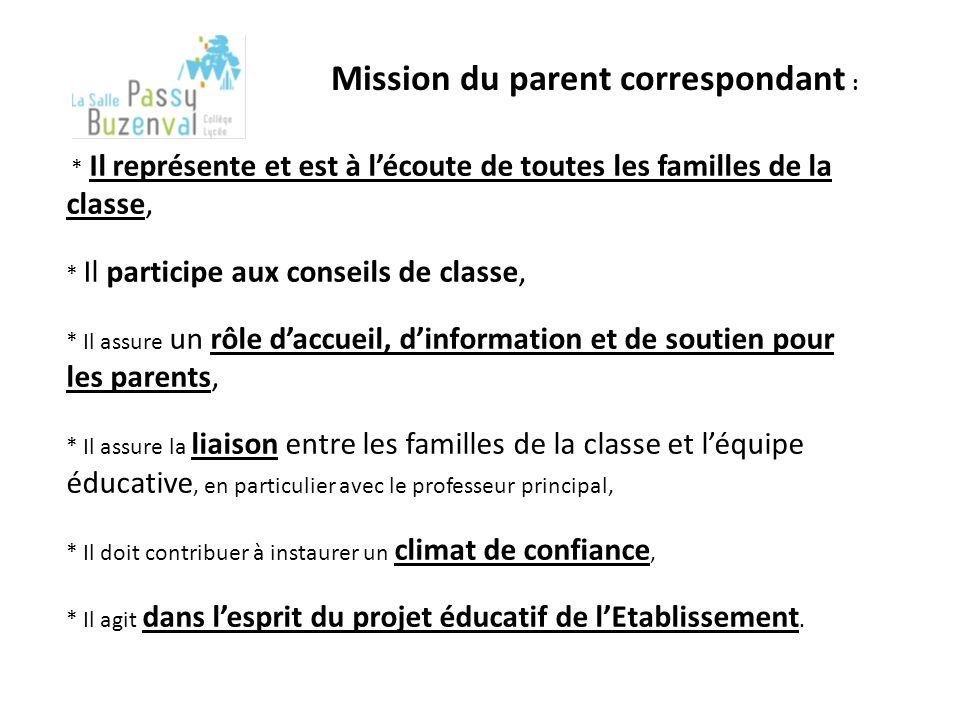 Mission du parent correspondant :
