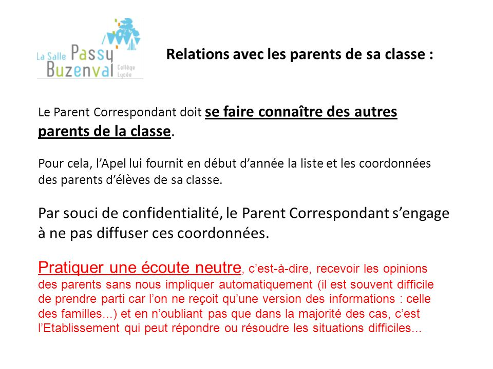 Relations avec les parents de sa classe :