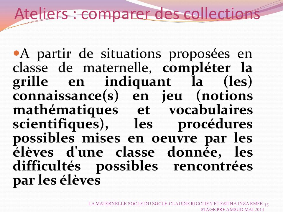 Ateliers : comparer des collections